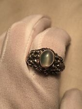 Vintage Dragon Genuine White Moonstone 925 Sterling Silver Real Ring