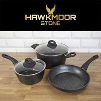 Hawkmoor Stone Essential Non-Stick 5 Pieces Cookware Saucepan Black Gift Set