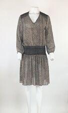 Anthropologie Sz M Peasant Tunic Dress Brown Black Polyester V Neck Stretch   BZ