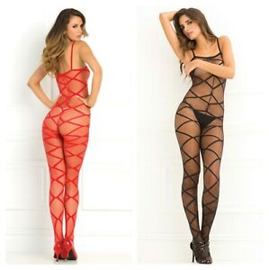 RENE ROFE STRAPPED UP SHEER BODYSTOCKING LINGERIE