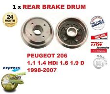FOR PEUGEOT 206 1.1 1.4 HDi 1.6 1.9 D 1998-2007 NEW 1x REAR BRAKE DRUM