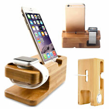 Bamboo Wood Charge Holder Docking Station Cradle Bracket For Apple Watch iPhone