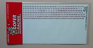 RED WHITE LETTER NUMBERS 1:24 1:25 GOFER RACING DECALS CAR MODEL ACCESSORY 11047