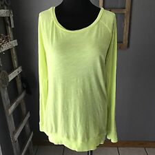 PINK Victoria's Secret Bright Yellow Sheer Long Sleeve Scoop Neck Knit Top XS