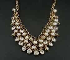 Crystal Rhinestone faceted Beads Dangle Gold Plate Cha Cha Bib NECKLACE