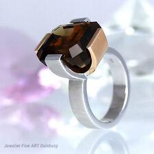 Ring in 585/- Rosé/Weißgold - 1 großer Rauchquarz  - 15,8 g - Anfertigung NEU
