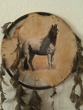 1Vtg Shied of Paint Horse painted on Deer Skin Hide with feathers Sign Artist Cm