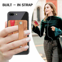 For Phone Stick On Leather Universal Credit Card Holder Cash Pocket Strap Wallet