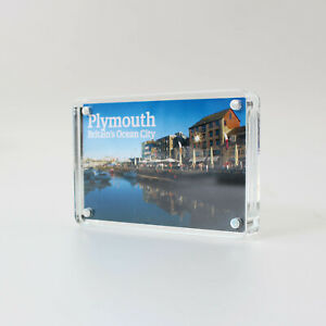 Freestanding Clear Acrylic Magnetic Picture Photo Frame Business Card Holder