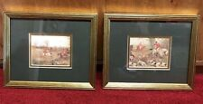"PAIR ""HUNT SCENE "" Antique Style Framed Matted Ready To Hang Fox Dog Hunt"