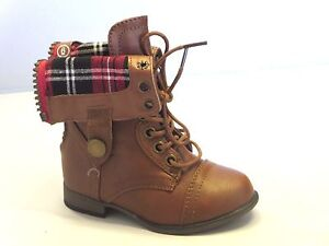 Girl Military Boots Lace- Up Boots Ankle Boots  (legend8ka) TODDLER Tan Black