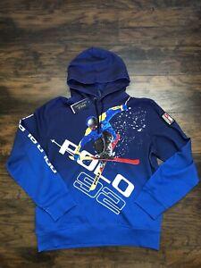 Polo Ralph Lauren Alpine Suicide Skier Ski 92 Hoodie Blue Retail $398 Size XL