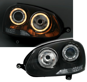 OFFER Headlights VW GOLF 5 V MK5 2003-2009 Angel Eyes Black DEPO IT LPVWH7EM XIN