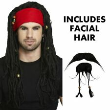 Homme Adulte Pirate Perruque Barbe Déguisement Set Pirate Caraïbe Jack Sparrow