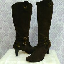 Vaneli Tall Suede Boots Womens 11 Brown Suede Knee High Buckle High Heels