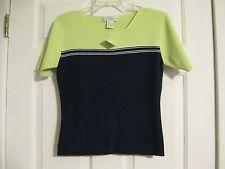 shirt knit top green black short sleeve casual corner 55% acrylic 45% cotton sma