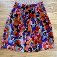 Etcetera Womens Skirt Velvet Silk Blend Floral Multicolor Pleats Size 4