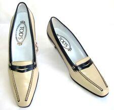 TOD'S - chaussures petits talons cuir beige et bleu marine 37 ITL EXCELLENT ETAT