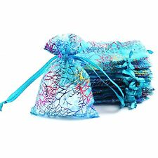 50PCS 10X7.5cm Wedding Favor Coralline Organza Jewellery Pouch Candy Gift Bag
