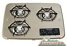 Suburban RV Camper Trailer Drop-In Propane 3-Burner Black Cooktop Stove 2938ABK