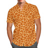 Men's Button Down Short Sleeve Shirt - Giraffe Print