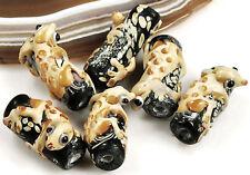 6pcs Lampwork Glass Beads Yellow Frog Hug Black 23mm(C21) Jewelry 100% handmade