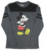 Disney Mickey Mouse Cheerful Retro Charcoal Speckle Long Sleeve Men's T Shirt
