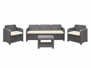 Italian Patio Furniture Set 2 Chairs, 3 Seat Couch and Table Poly Rattan Dk Grey
