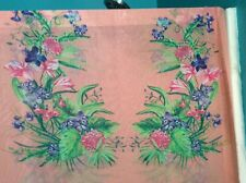 """Purple tiger lily red dahlia flower floral chiffon fabric on pink, 59""""w, Bty"""