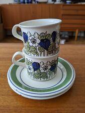 RARE Vintage Arabia KROKUS Pair of Coffee Cups & Saucers Esteri Tomula 4 pcs