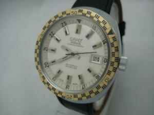 NOS NEW SWISS SUPERAUTOMATIC WITH DATE MEN'S DIVERS CAMY LEATHER WATCH 1960'S