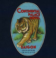 Continental Palace Hotel SAIGON Vietnam Tiger Old Luggage Label Kofferaufkleber
