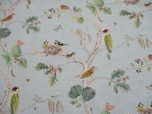Sanderson Curtain Fabric 'WOODLAND CHORUS' 3.6 METRES Sky Blue/Multi - Linen Mix