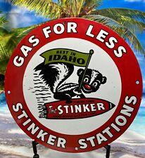 VINTAGE STINKER STATIONS GASOLINE MOTOR OIL PORCELAIN GAS STATION PUMP SIGN