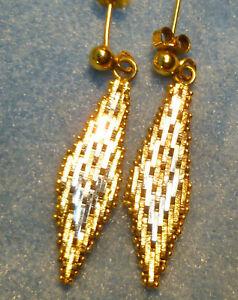 Chevron Chain Link Dangle Earrings Milor Gold on 925 Silver