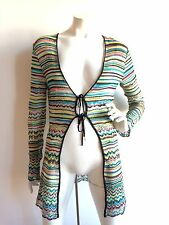 M MISSONI STRIPED CHEVRON TIE FRONT CARDIGAN MULTI-COLORED SIZE IT44 US8