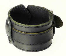 Black Leather Wide Strap Cuff Wrap Gothic Wristband Bracelet Buckle Fastening