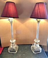 Vintage Pair Boudoir Table Lamps w/ Crystal  Bases & Faceted Middle Parts+shades