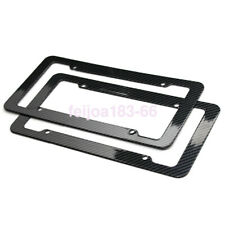 2pc Set Plastic Carbon Fiber License Plate Frame Holder Cover Front & Rear JDM