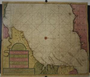 ENGLISH CHANNEL ENGLAND & FRANCE 1690 VAN KEULEN UNUSUAL ANTIQUE SEA CHART