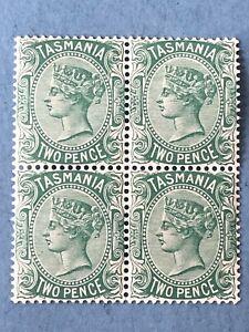 GB Tasmania 1878 SG157 Two-pence Pale Green Block of 4 - Mint NH
