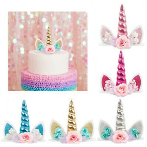 Unicorn Horn Flower Cake Topper Baby Shower Birthday Party Decoration Supplies