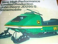 New listing 1973 Vintage JOHN DEERE JD295/S Snowmobile Brochure Tractor