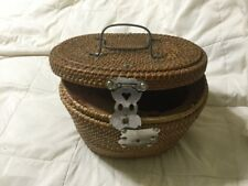 Chinese Antique Tea Caddy Wicker Cloth Interior 1800's