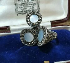 VINTAGE 925 STERLING SILVER RING, MARCASITE & MOTHER OF PEARL, SIZE i½, SMALL