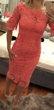 Asos Paper Dolls Coral Crochet Midi Dress Size 8 Worn Once