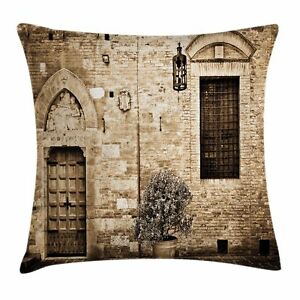 Rustic Throw Pillow Case Stone House Sepia View Square Cushion Cover 16 Inches