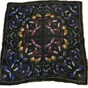 BN ALEXANDER MCQUEEN BUTTERFLY PARADISE PRINT WOOL SQUARE SCARF RP £365