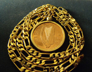 """1995 MENS IRISH LUCKY PENNY w/ HIGH GRADE 24"""" GOLD FILLED 4mm wide FIGARO Chain"""