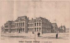 Belfast municipal buildings; J.T. Jackson, Architect. Ireland 1869 old print